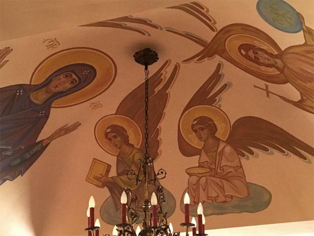 église, fresque de la Mère de Dieu orante