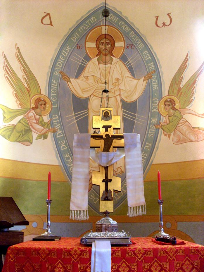 église, fresque du Christ en gloire